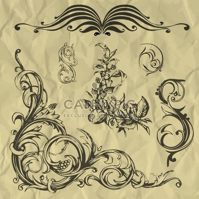 Vintage floral Vektorelemente auf zerknittertes Papier - Kostenloses vector #127261