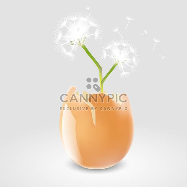 Vector illustration of dandelion in eggshell on grey background - Free vector #127341