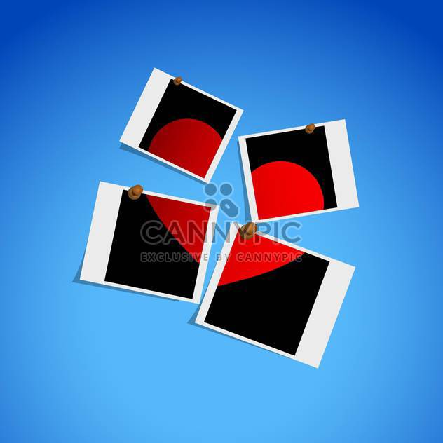 Four pictures of one heart on blue background - Free vector #127371