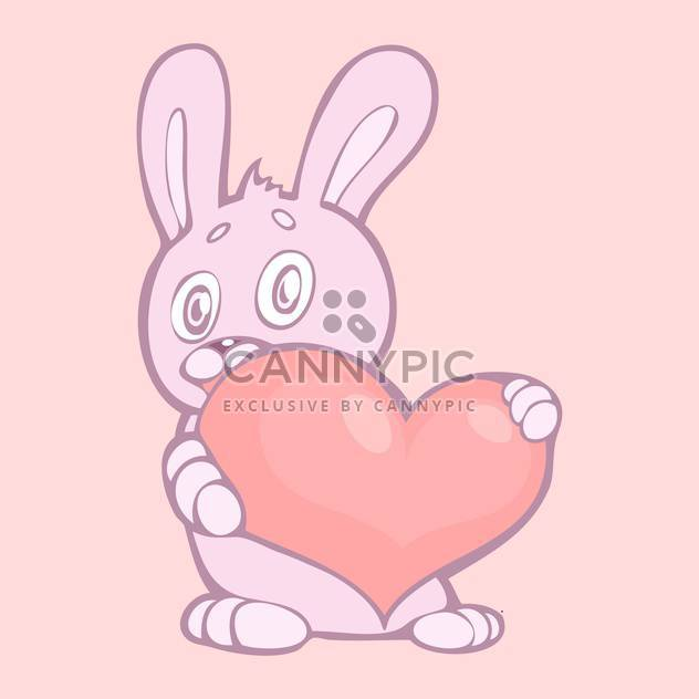 vector illustration of lovely rabbit holds pink heart with text place - Free vector #127391