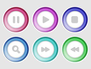 vector collection of media colorful buttons - Free vector #127421