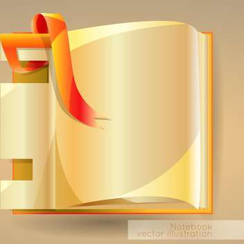 vector illustration with open notebook on brown background - vector #127431 gratis