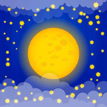 Moon with yellow stars on blue sky background - Free vector #127441