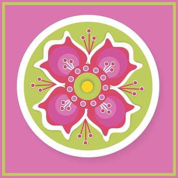 Floral round shaped vector pattern on pink background - vector gratuit(e) #127471