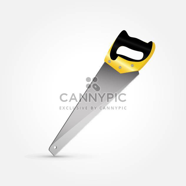 vector illustration of hand saw on grey background - Free vector #127491