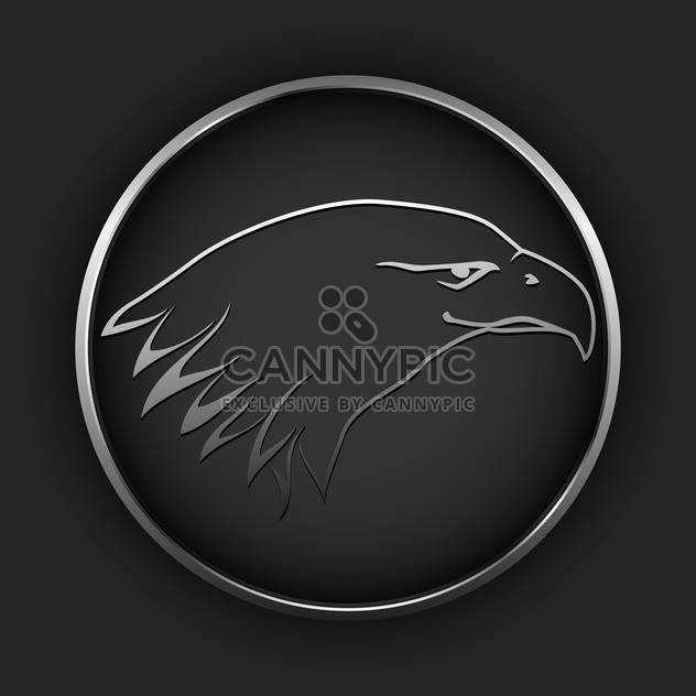 Vector black button with drawing eagle in circle - Free vector #127501