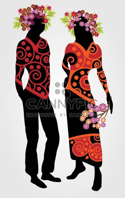 Couple with floral wreath on white background - Free vector #127511