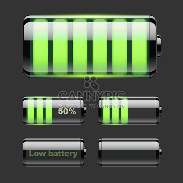 Vector set of battery charge on black background - Free vector #127541