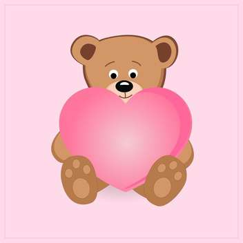 Cute teddy bear holding pink heart with text place - vector gratuit #127581