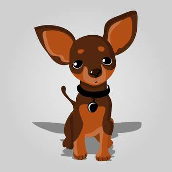 Vector illustration of cute dog on grey background - Free vector #127611