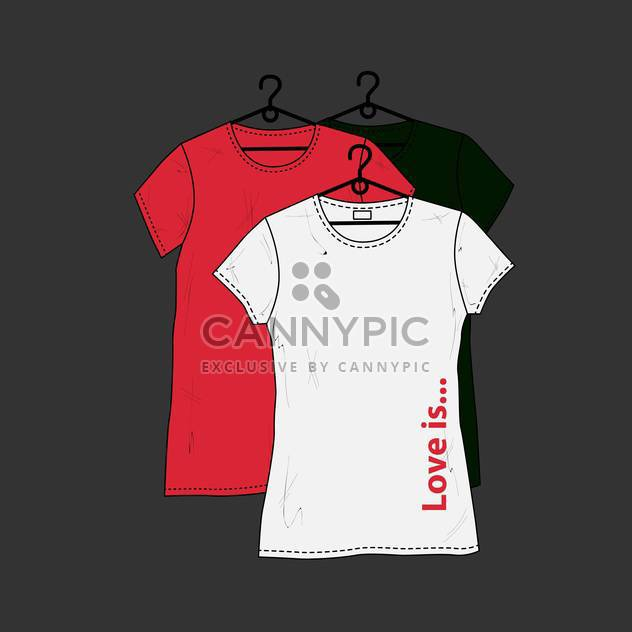 female t-shirts design template on black background - Free vector #127661