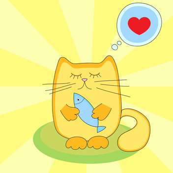 colorful background of cute cartoon cat with fish in hand - vector #127711 gratis