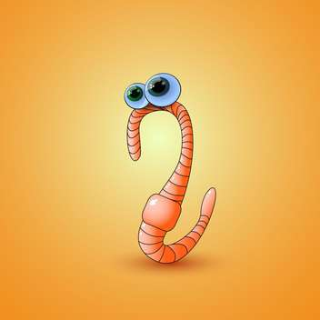 vector illustration of cartoon earthworm on orange background - Kostenloses vector #127731