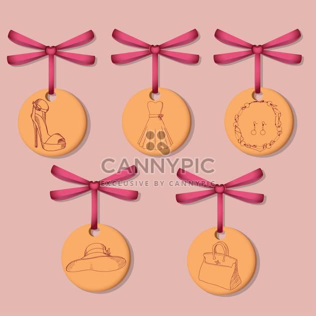 weibliche Etiketten mit Kleidung und Accessoires auf rosa Hintergrund - Kostenloses vector #127791
