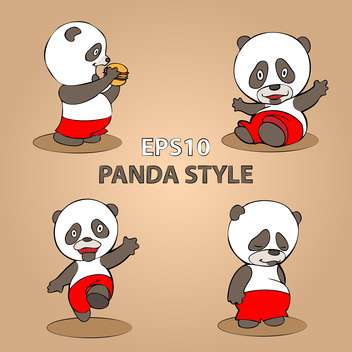 vector set of cartoon panda on beige background - vector gratuit #127881