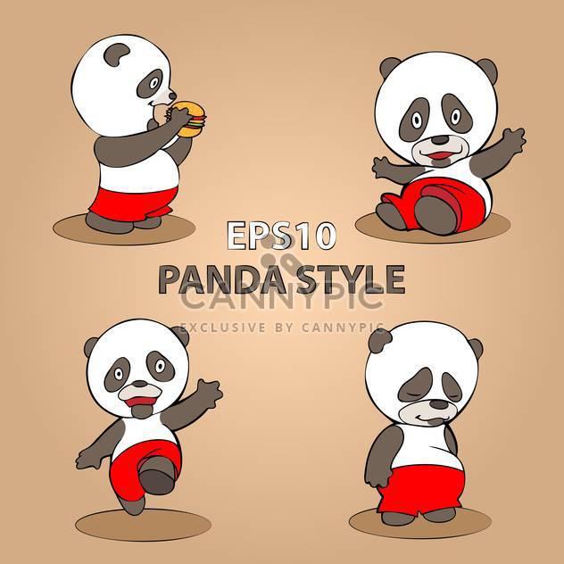 vector set of cartoon panda on beige background - Free vector #127881