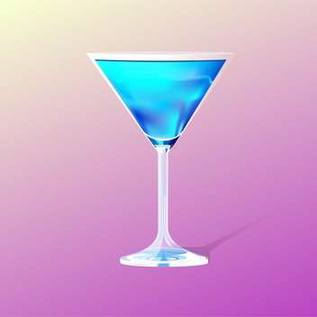 Glass with blue cocktail on blue background - vector gratuit #127901