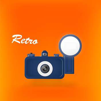 colorful illustration of retro photo camera on orange background - vector gratuit #127941