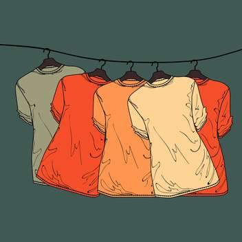vector grey background with colorful shirts on hangers - бесплатный vector #128011