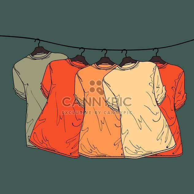 Vektor-grauen Hintergrund mit bunten Hemden auf Kleiderbügeln - Kostenloses vector #128011