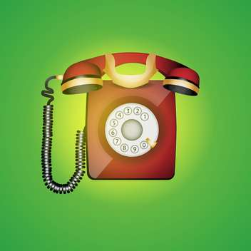 colorful illustration of old phone on green background - vector gratuit #128031
