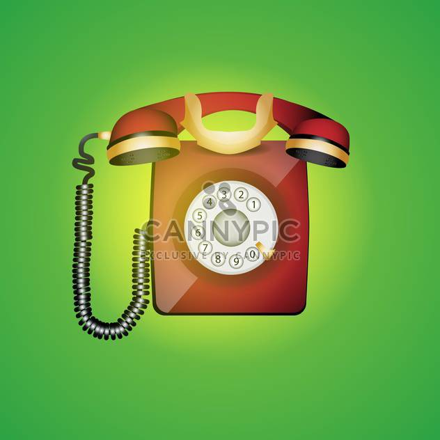 colorful illustration of old phone on green background - Free vector #128031