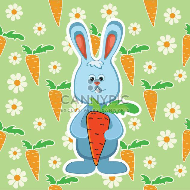 colorful illustration of Rabbit with orange carrot on green background - Free vector #128081