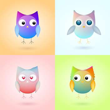 Set with cute colorful owls - Free vector #128151