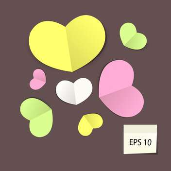 Set with colorful paper hearts, vector illustration - vector gratuit #128181