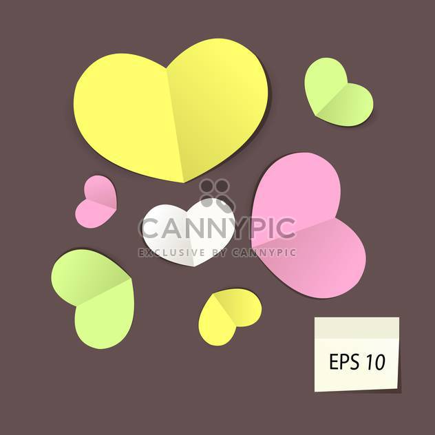 Set with colorful paper hearts, vector illustration - Free vector #128181