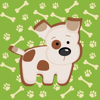 Cute vector puppy and bones illustration - vector gratuit #128211
