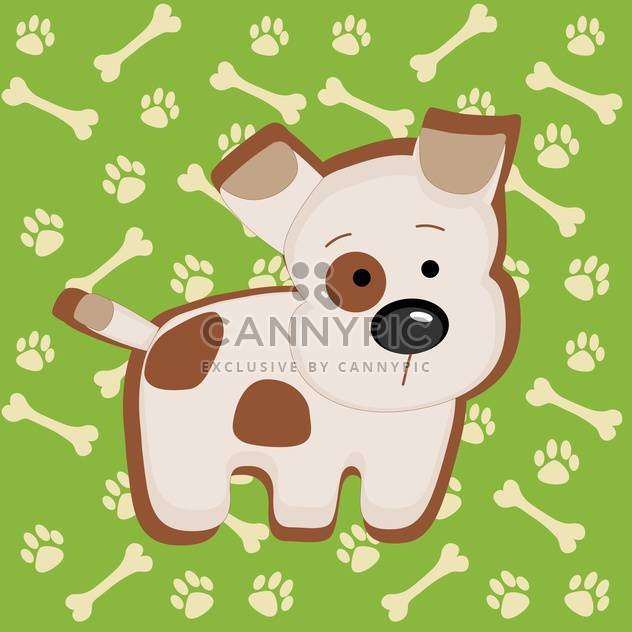 Cute vector puppy and bones illustration - Free vector #128211