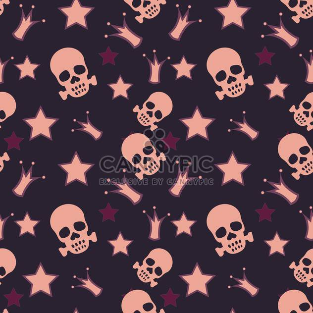 Seamless background with skulls, crowns and stars - Free vector #128261