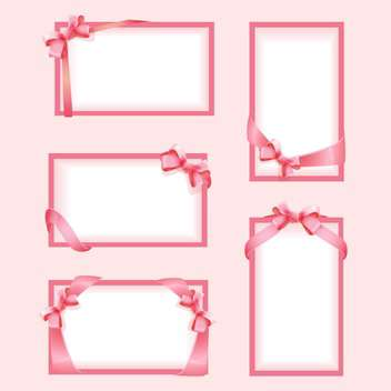 Vector set with pink frames and bows - Free vector #128301
