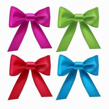 Vector set with colorful ribbon bows, isolated on white background - Free vector #128311