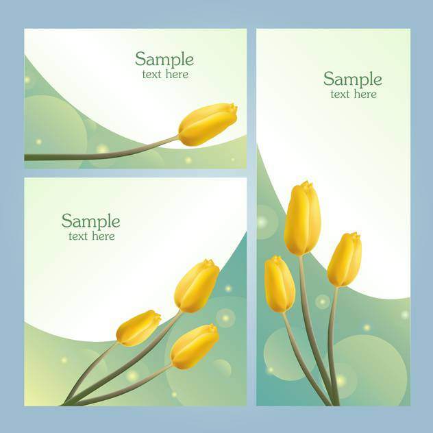 Set with spring flowers banners with place for text - Kostenloses vector #128321
