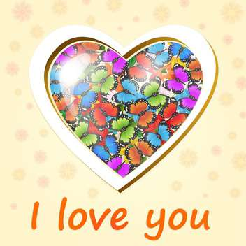 Vector heart full of colored butterflies on floral background - бесплатный vector #128351