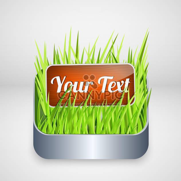 Vector wooden button with green grass, isolated on white background - Free vector #128371