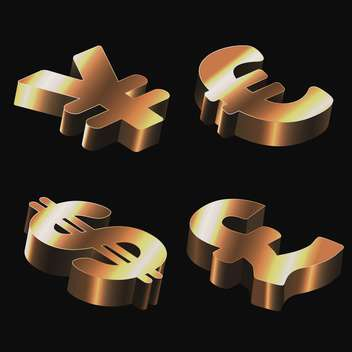 Set of golden signs with dollar, euro, pound sterling and yen on black background - Free vector #128381