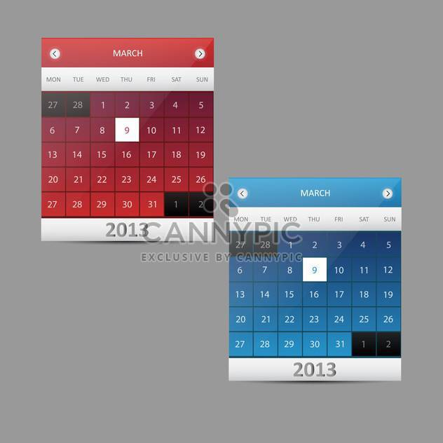 Kalender-Vektor-Illustration - 9 März 2013 - Free vector #128431