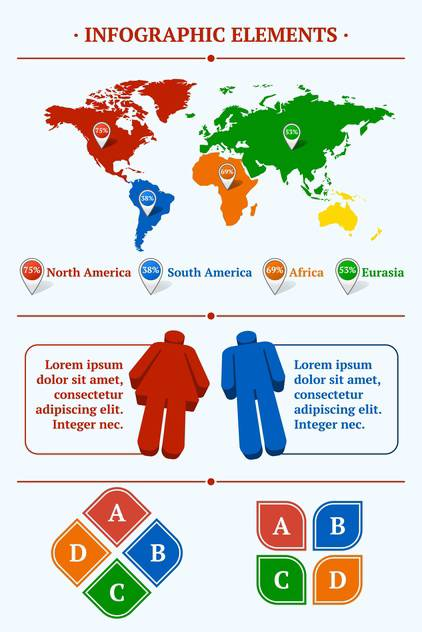 Human infographic vector illustration with World Map and Information - vector #128441 gratis