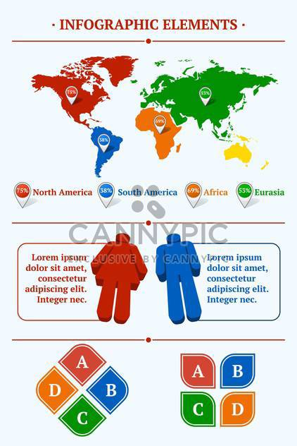 Human infographic vector illustration with World Map and Information - Free vector #128441