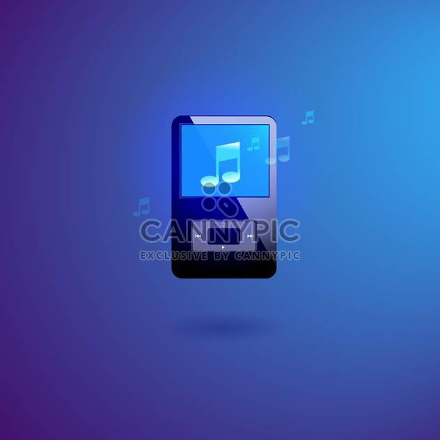 Vector illustration of music player on blue background - Free vector #128481