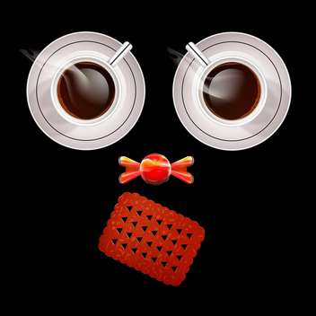 Vector illustration of two cups of coffee and sweets - vector gratuit #128491
