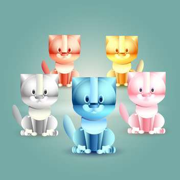 Vector illustration of five funny colorful cats - Free vector #128701