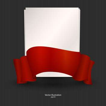 Vector illustration of sheet of paper with red ribbon. - vector gratuit #128741