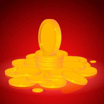 Vector illustration of stacks of gold coins on red background - Free vector #128751