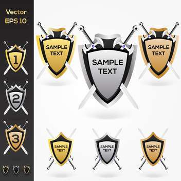 Set of golden, silver, bronze shield and swords - Free vector #128771
