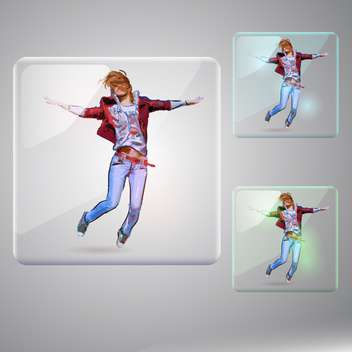 Vector set with happy jumping girl - vector gratuit #128811