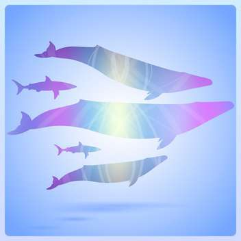 Whale on abstract ocean background, vector illustration - Free vector #128841